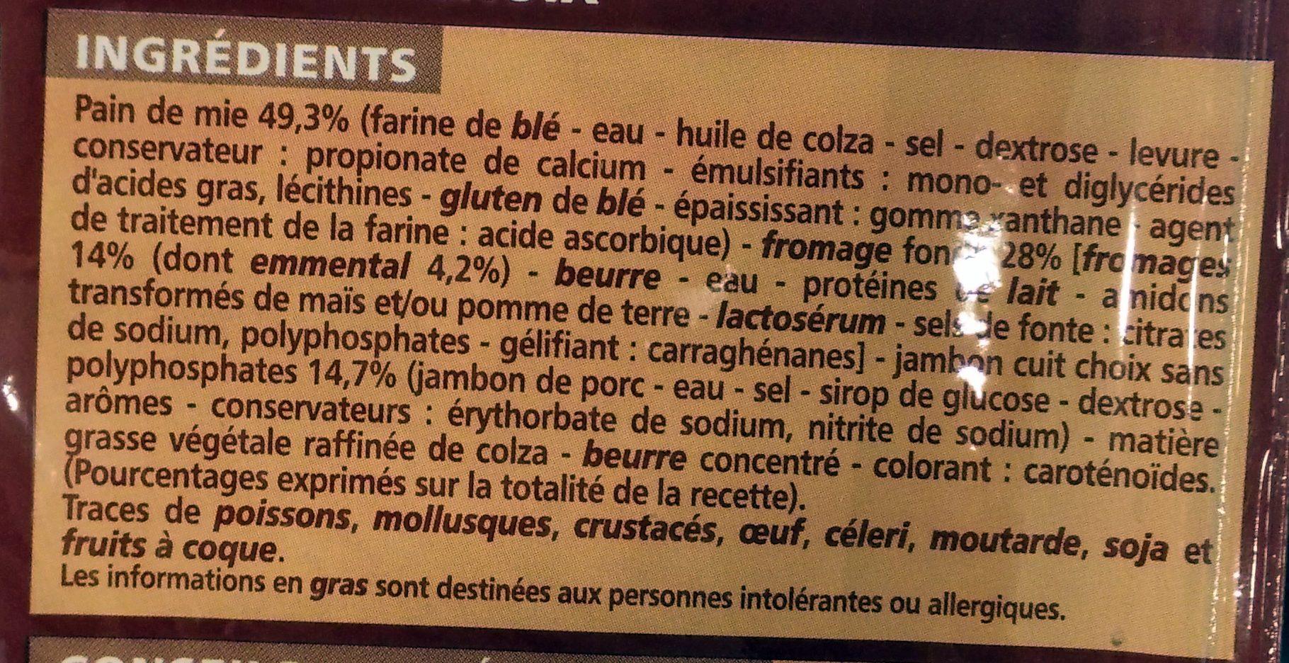2 croque-monsieur Maxi - Ingrédients - fr