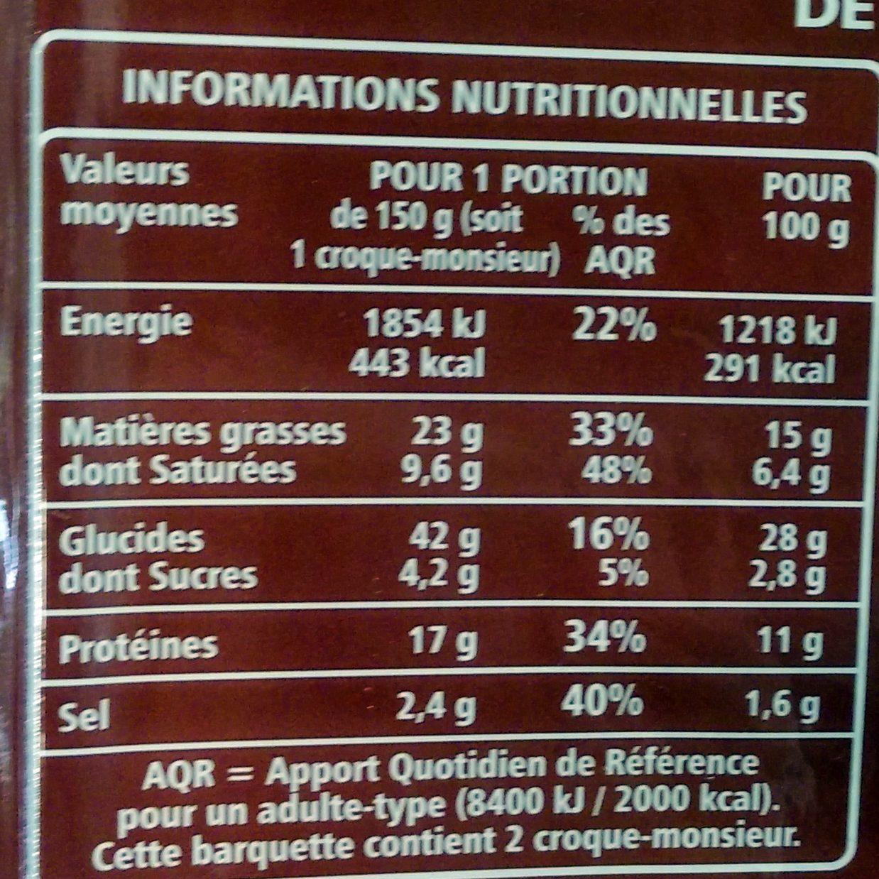 2 croque-monsieur Maxi - Informations nutritionnelles - fr