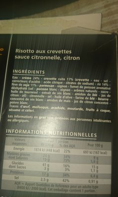 Risotto aux crevettes sauce citronnelle  citron - Ingrédients - fr