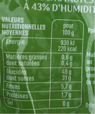 Prunes Moelleuses - Informations nutritionnelles - fr