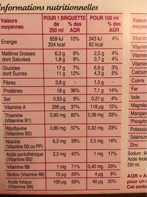 Milkshake Riche en Protéines Saveur Chocolat - Voedingswaarden