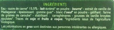 Crème glacée Vanille de Madagascar bio - Ingredients