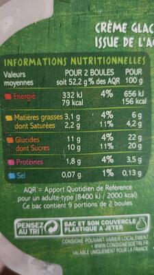 Crème glacée Vanille de Madagascar bio - Voedingswaarden - fr