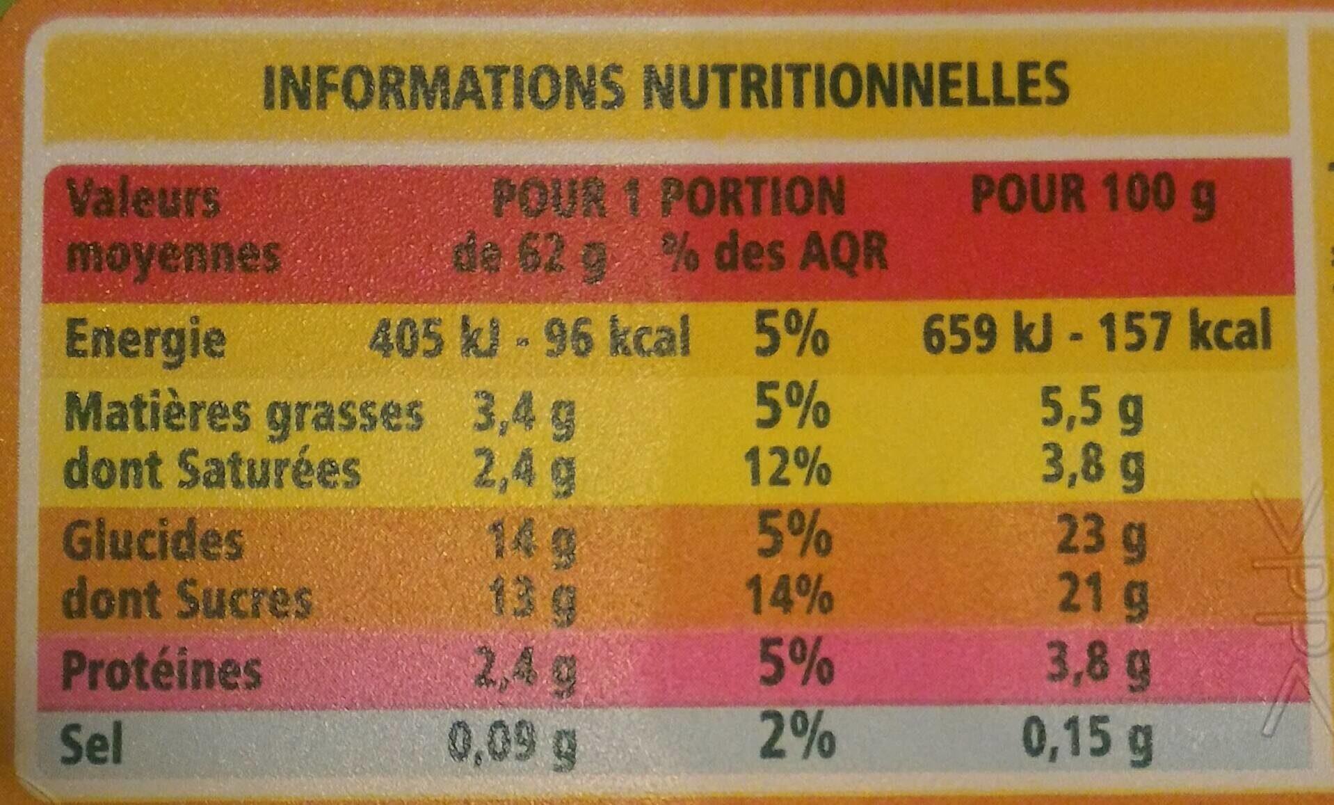 Crème glacée Vanille de Madagascar bio - Nutrition facts