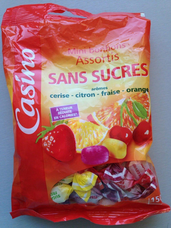 Mini bonbons assortis sans sucres goûts cerise, citron, fraise, orange - Product - fr