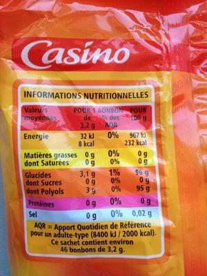 Mini bonbons assortis sans sucres goûts cerise, citron, fraise, orange - Nutrition facts - fr