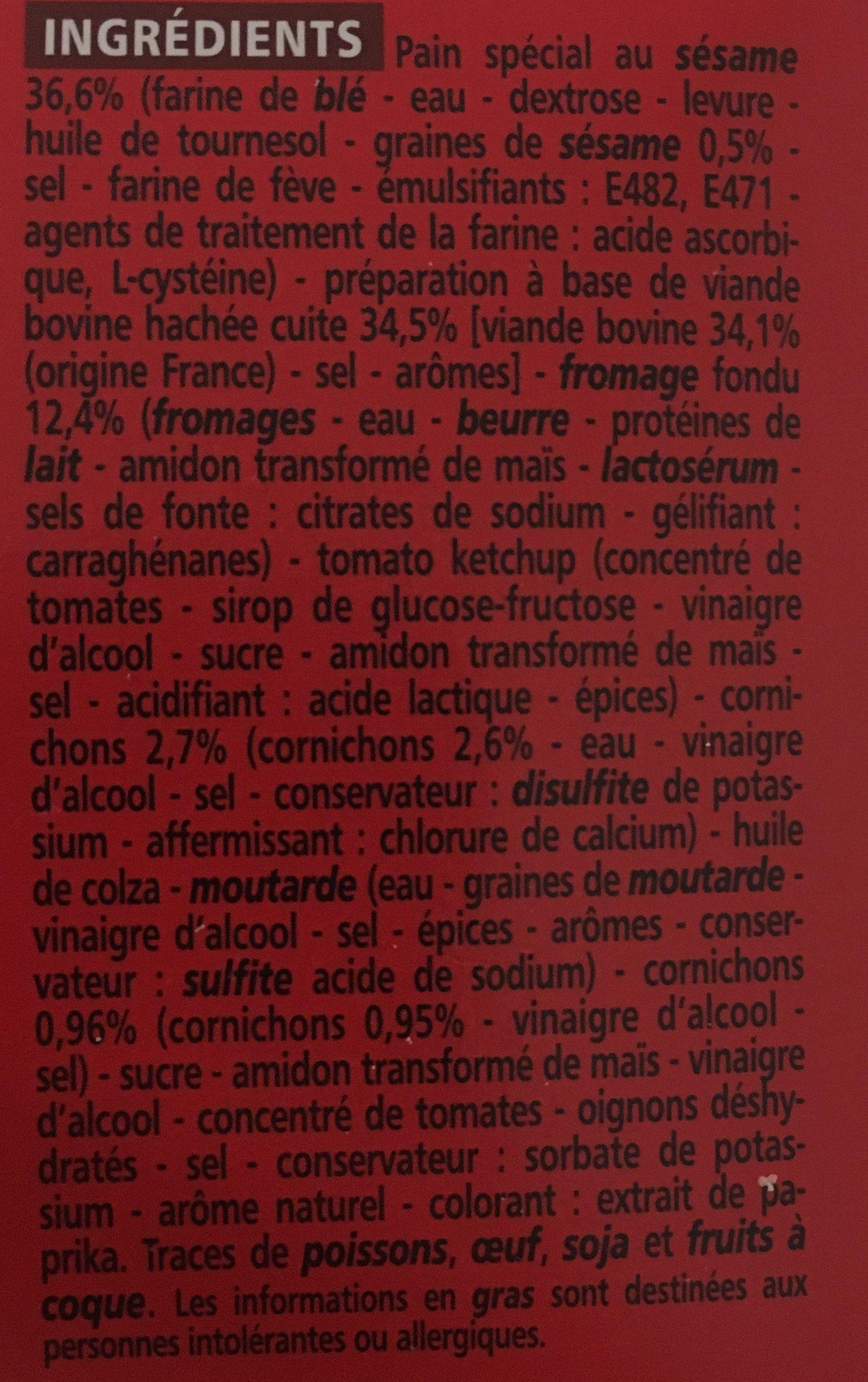 Cheeseburger - Ingrédients - fr