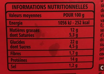 Cheeseburger - Informations nutritionnelles
