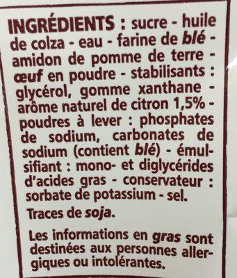 Mon moelleux saveur citron facile - Ingrediënten - fr