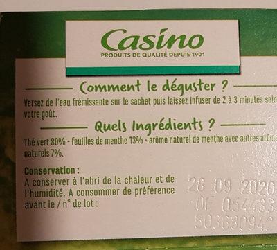 Thé vert - Aromatisé à la menthe - 25 sachets fraîcheur - Informazioni nutrizionali - fr