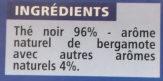 Thé Earl Grey - 25 sachets fraîcheur - Ingredients