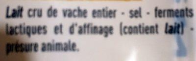 Beaufort d'été - Ingrediënten - fr
