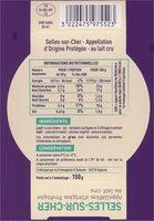 Selles-sur-Cher - Appellation d'Origine Protégée - Au lait cru - Voedingswaarden - fr