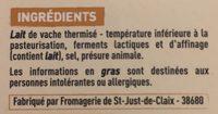 Saint-Marcellin IGP moulé à la louche - Ingrediënten - fr