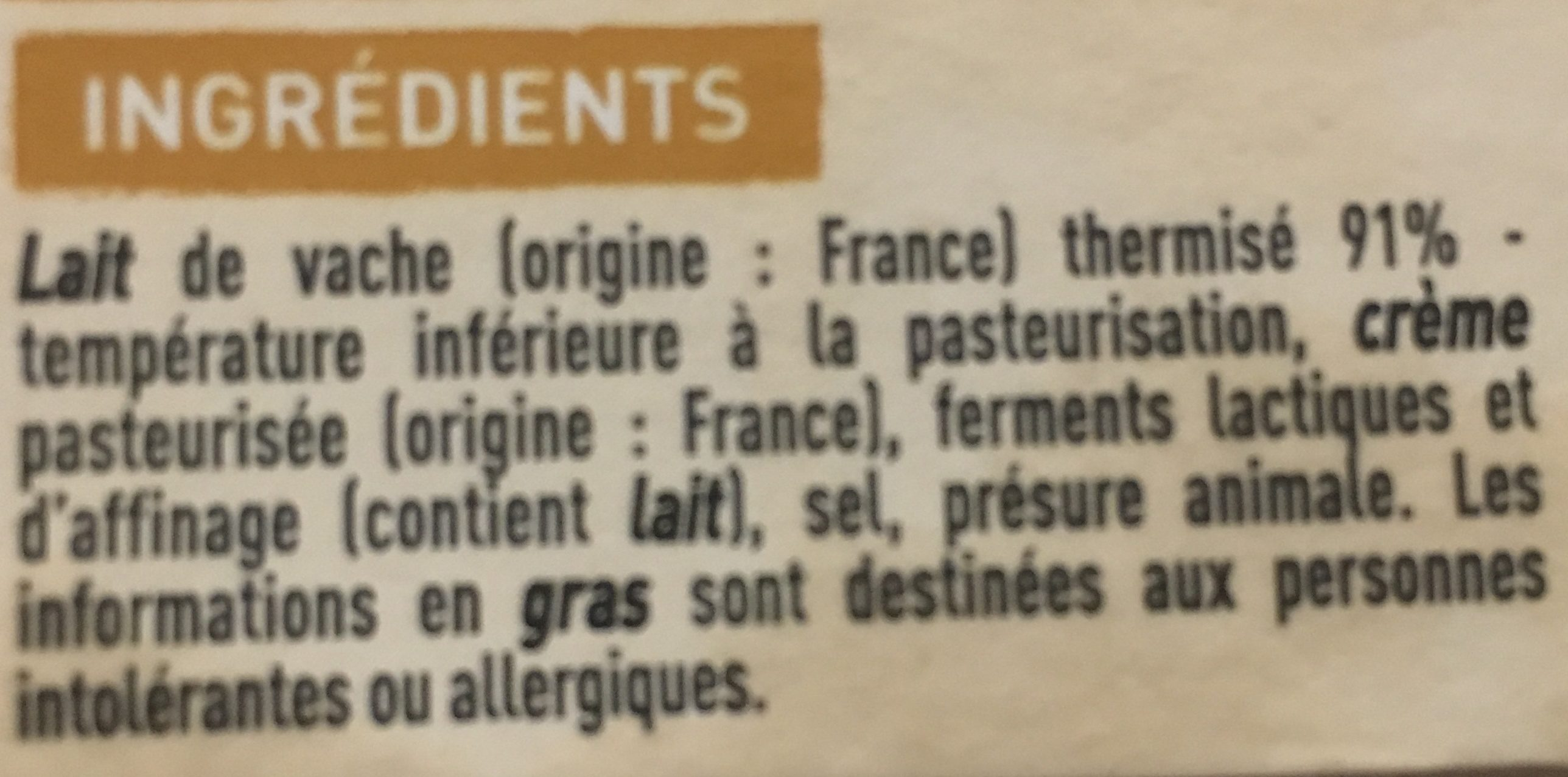 Saint-Félicien moulé à la louche - Ingrediënten - fr