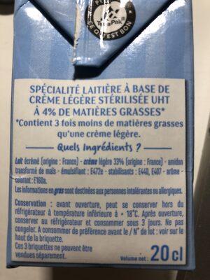 Crème légère 4% - Ingredients - fr