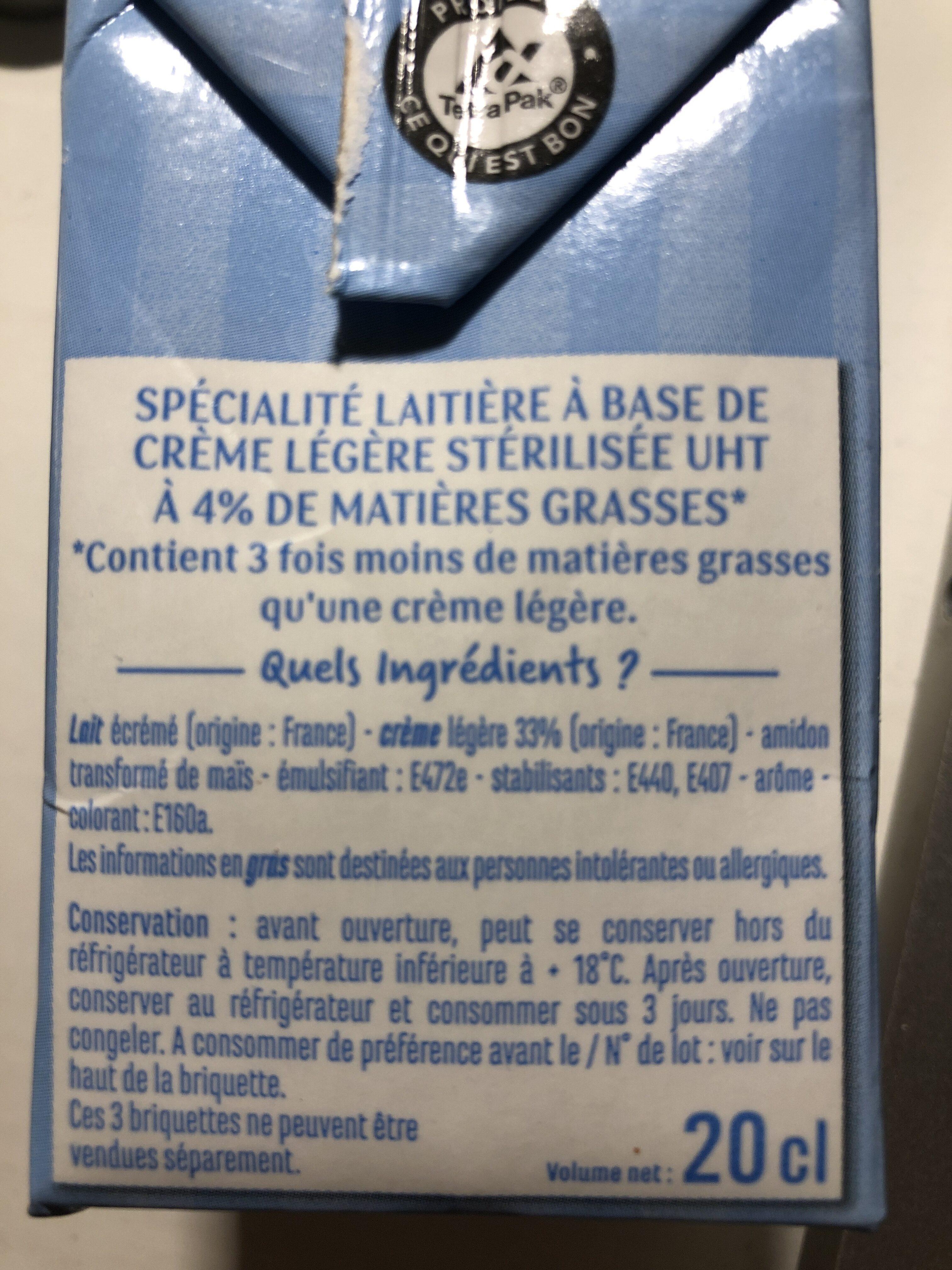 Crème légère 4% - Ingrediënten - fr