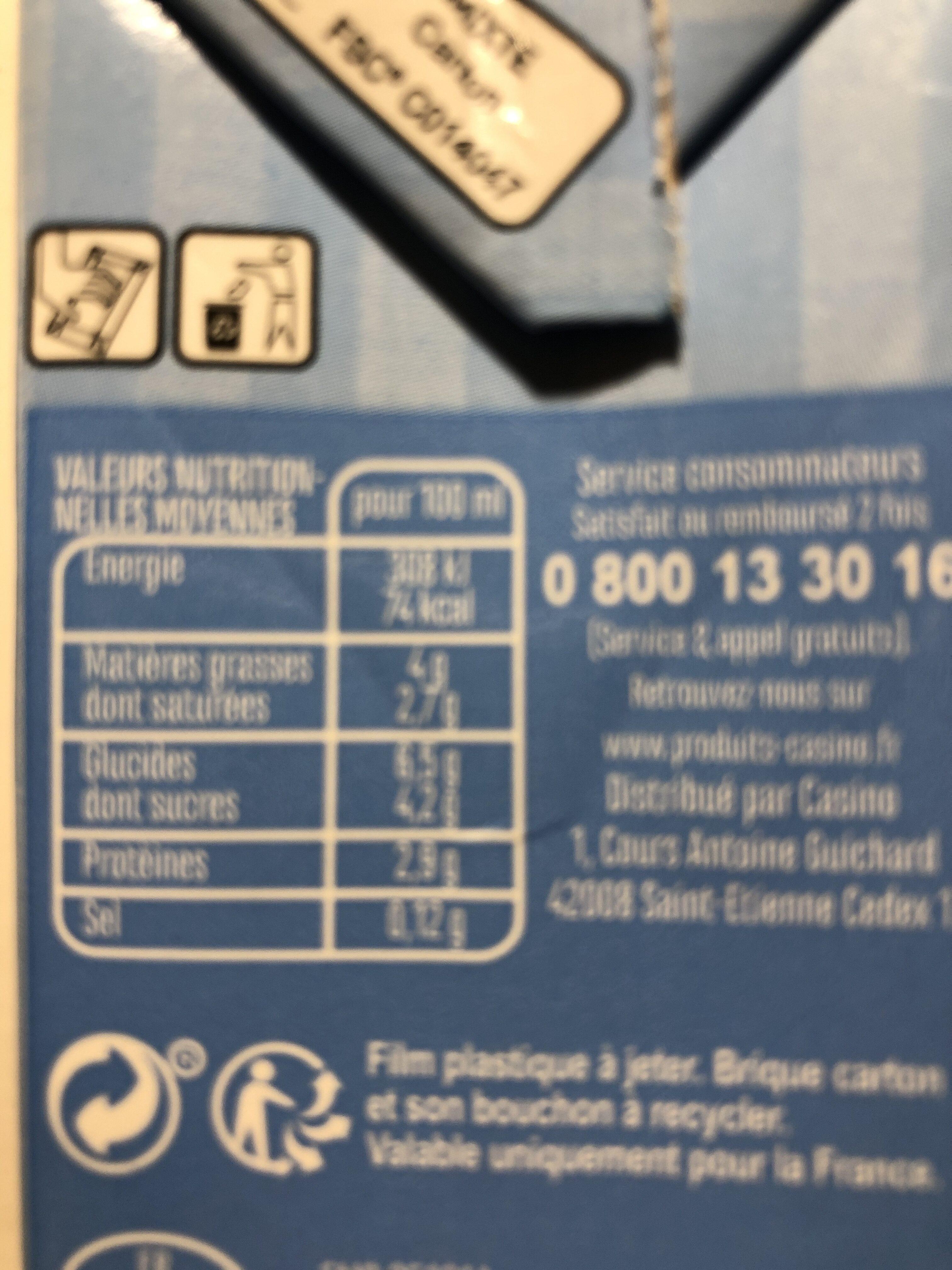 Crème légère 4% - Voedingswaarden - fr