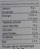 Pont l'Evèque AOP - Voedingswaarden - fr