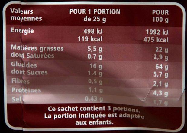 Diablotins goût Ketchup - Nutrition facts