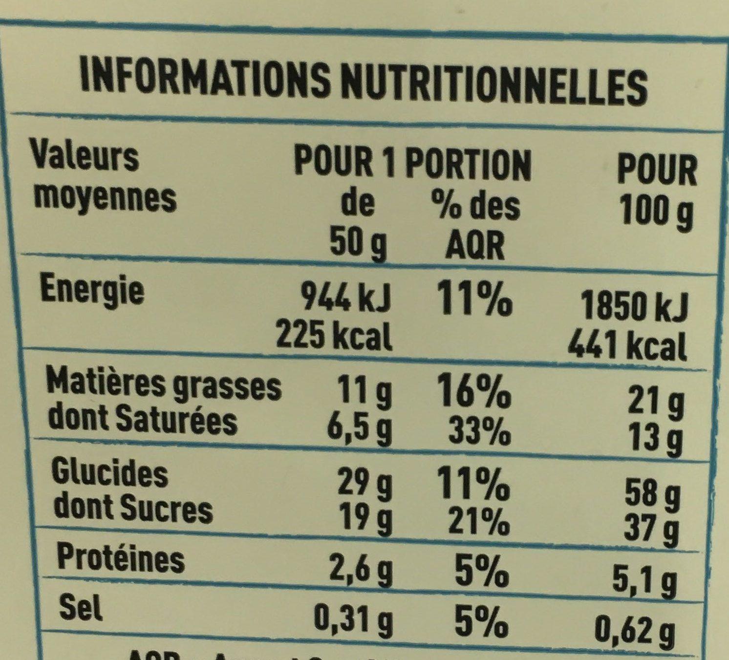 Gâteau breton fourré à la crème de pruneaux pur beurre - Voedingswaarden - fr