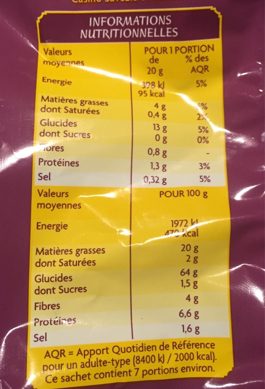 Tortillas chips gout fromage - Voedingswaarden - fr