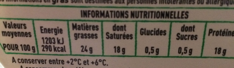 Chabichou du Poitou AOP - Informations nutritionnelles - fr