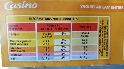Yaourts aux fruits - Pêche, abricot, ananas, poire - Nutrition facts