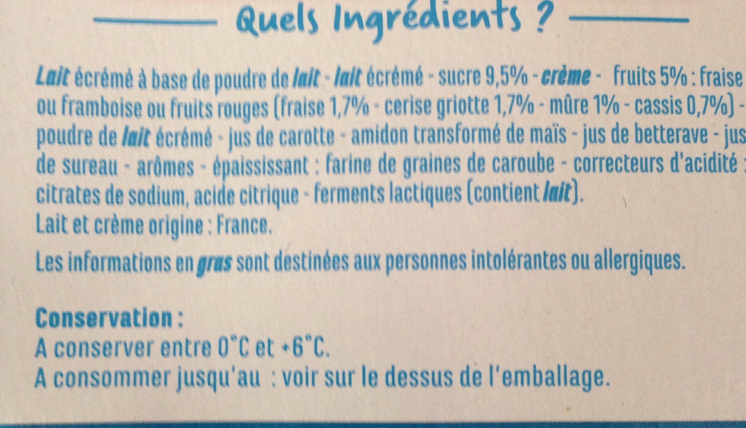 Yaourts brassés aux fruits rouges - Fraise, framboise, fruits rouges - Fruits mixés - Ingrédients - fr
