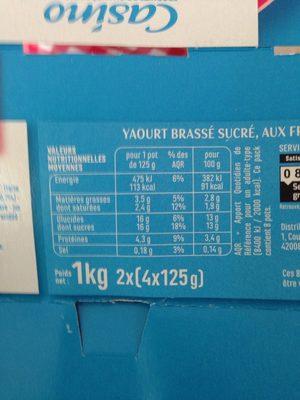 Yaourts brassés aux fruits rouges - Fraise, framboise, fruits rouges - Fruits mixés - Informations nutritionnelles - fr
