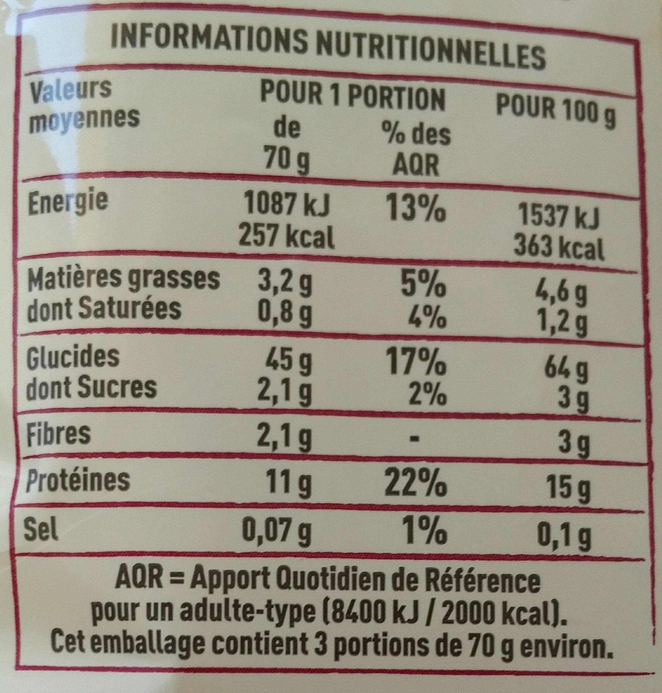 Spaetzle aux 7 oeufs - Informations nutritionnelles