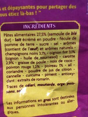 Soupe déshydratée à cuire THAI - Ingrediënten