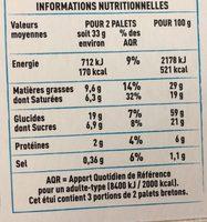 palets bretons spécialité de Pont Aven - Voedingswaarden - fr