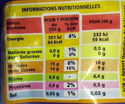 Blueberries Myrtilles Américaines sauvages - Informations nutritionnelles