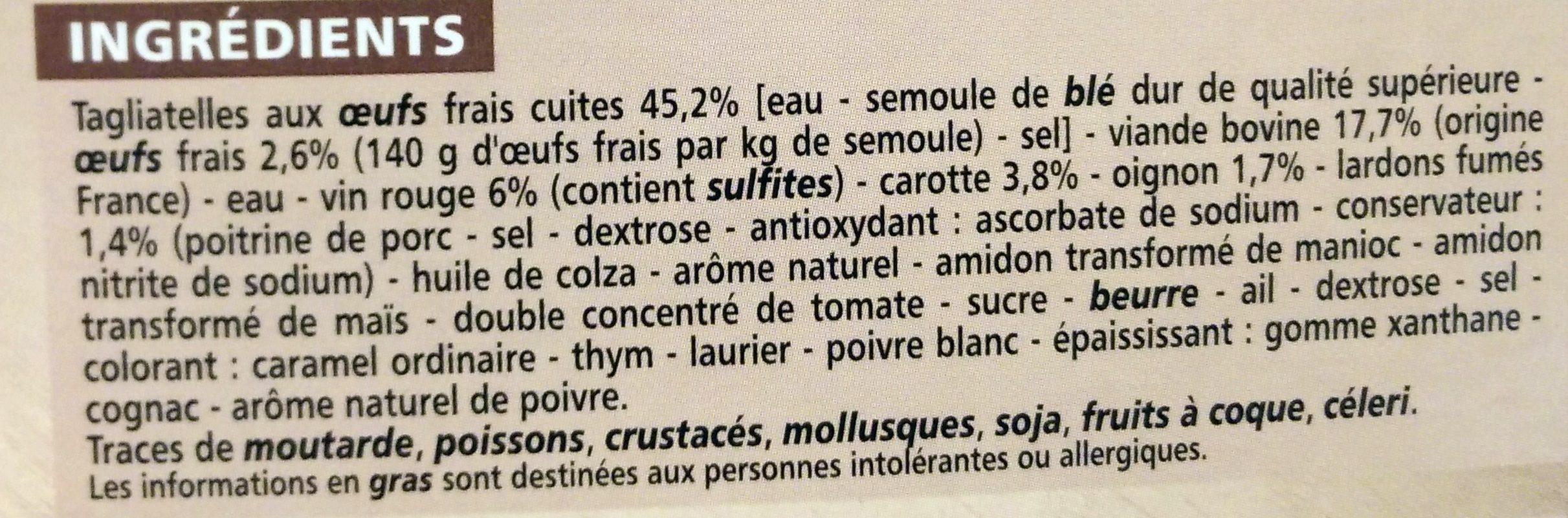 Bœuf Bourguignon et ses Tagliatelles - Ingredienti - fr