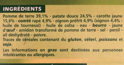 Râpés de légumes Pomme de terre - Patates douces - Carottes jaunes - Comté - Ingredients