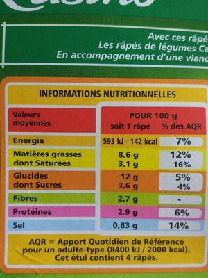 Râpés de légumes Pomme de terre - Patates douces - Carottes jaunes - Comté - Nutrition facts
