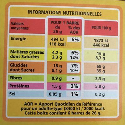 Barre céréalière enrobage total Banane x6 - Voedingswaarden - fr
