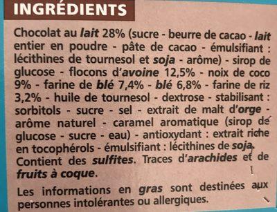 Barre céréalière enrobage total Coco x6 - Ingredients