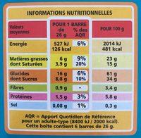 Barre céréalière enrobage total Coco x6 - Nutrition facts