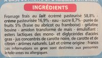 Mousse au fromage frais - Fraise, framboise, abricot - Ingredients