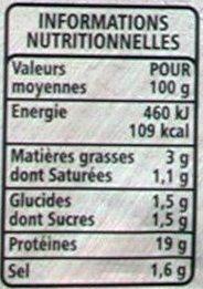 Jambon de Paris découenné dégraissé - Informations nutritionnelles - fr