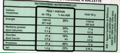 Pizza à pâte fine 4 fromages - Informations nutritionnelles