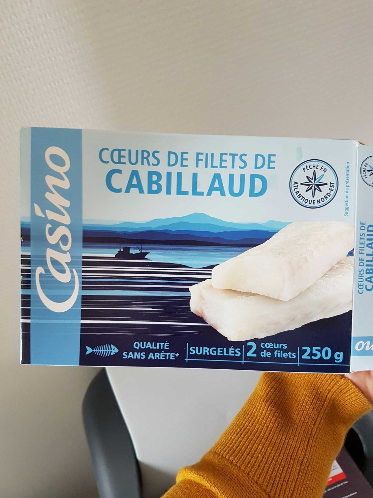 Cœurs de filets de cabillaud ( gadus morhua) 2x125g sachet sous vide et etui carton - Produit