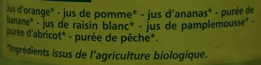 Multifruits Bio 100% Pur Jus - Ingrédients