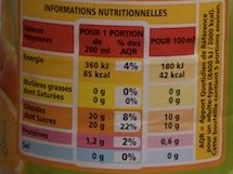 Multifruits Bio 100% Pur Jus - Informations nutritionnelles