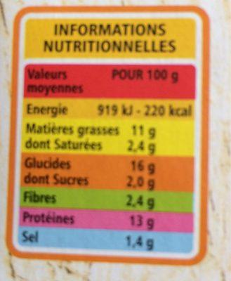 Cordons bleus de poulet (100% filet) - Informations nutritionnelles - fr