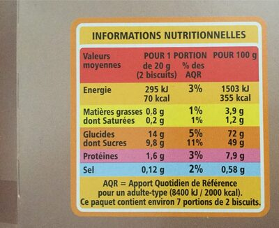 Biscuits cuillers Dégustation - Nutrition facts