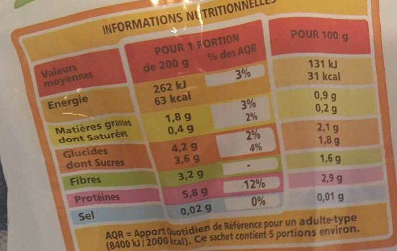 Choux-fleurs en fleurettes Agriplus - Nutrition facts - fr