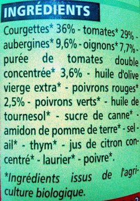 Ratatouille Bio - Ingredienti - fr